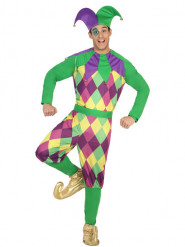 Disfraz arlequín violeta hombre