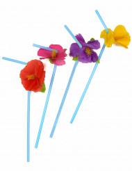 12 Pajitas de flores Hawái