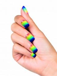 Uñas postizas adhesivo arcoíris mujer