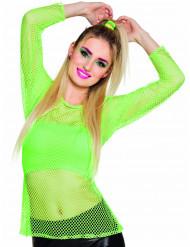 Camiseta fluorescente verde años 80 mujer