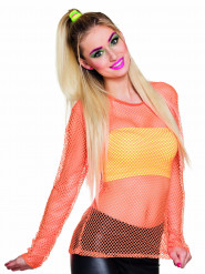 Camiseta fluorescente naranja años 80 mujer