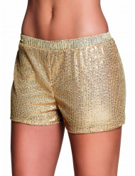 Pantalón corto lentejuelas dorado mujer