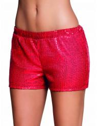 Pantalón corto lentejuelas rojas mujer