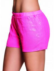 Pantalón corto lentejuelas rosa fluorescente mujer