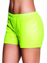 Pantalón corto lentejuelas amarillo fluorescente mujer