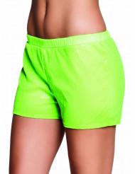 Pantalón corto lentejuelas verdes fluorescente mujer