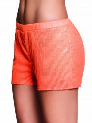 Pantalón corto lentejuelas naranja fluorescente mujer