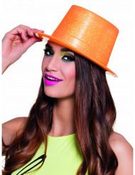 Sombrero de copa naranja fluo con brillantina adulto