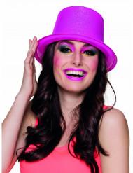 Sombrero de copa rosa fluo con brillantina adulto