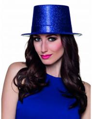 Sombrero de copa azul con brillantina adulto
