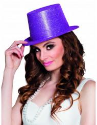 Sombrero de copa violeta con brillantina adulto