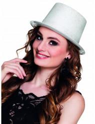 Sombrero de copa blanco brillantina adulto