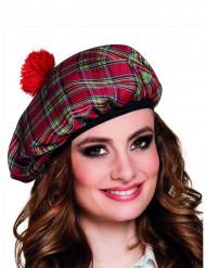 Boina escocesa roja adulto