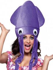 Sombrero de pulpo violeta peluche adulto