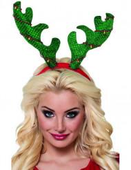 Diadema reno verde adulto Navidad