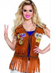 Chaleco hippie mujer marrón