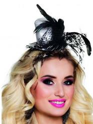 Mini sombrero con plumas adulto