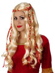 Peluca rubia larga con cintas rojas mujer