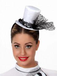 Mini sombrero alto blanco mujer