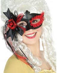 Antifaz negro encaje y flor rojos mujer