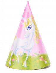 6 Sombreros de fiesta unicornio girly 16 cm