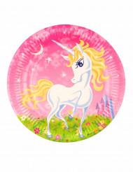 8 Platos de cartón unicornio girly 23 cm