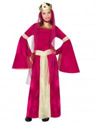 Disfraz de reina medieval rojo y dorado niña