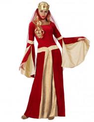Disfraz doncella medieval roja y dorado mujer