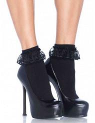 Calcetines negros con encaje mujer