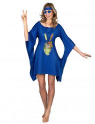 Disfraz hippie azul paz y amor mujer