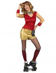 Disfraz años 80 dorado y rojo para mujer