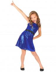 Disfraz disco vestido azul lentejuelas lazo  niña