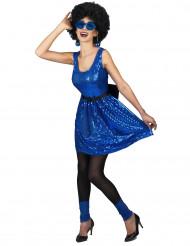 Disfraz vestido disco azul lentejuelas y lazo mujer
