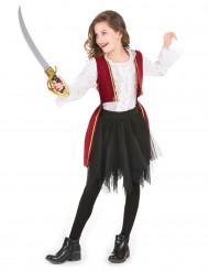 Disfraz pirata rojo y tutú negro niña