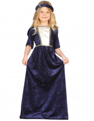 Disfraz doncella medieval azul niña