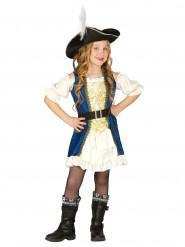 Disfraz de capitán pirata azul niña
