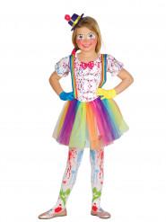 Disfraz de payaso con manchas de colores niña