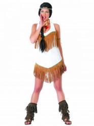 Disfraz de india blanca flecos mujer