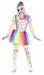 Disfraz de payaso manchas coloridas mujer