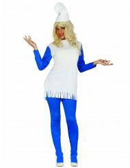Disfraz de enano azul mujer