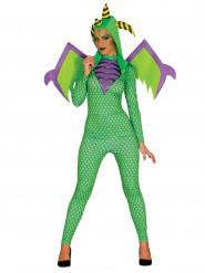 Disfraz de dragón verde mujer