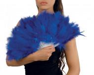 Abanico de plumas azul