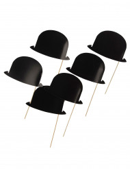 6 Sombreros negros para photobooth