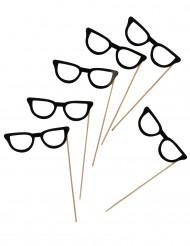 6 Gafas negras photocall 13 cm