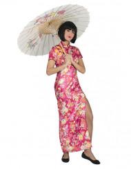 Disfraz de japonesa de color rosa con flores Mujer