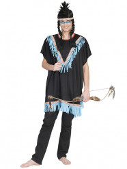 Disfraz de indio con flecos azules hombre