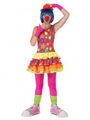 Disfraz payaso estrellas multicolor mujer