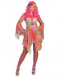 Disfraz hippie veteado multicolor mujer