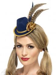 Mini sombrero azul y dorado con plumas mujer