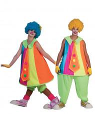 Disfraz de pareja payaso fluo adulto